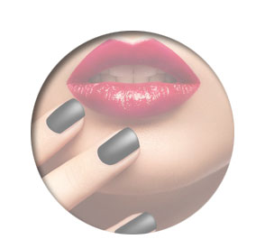 Polished Mobile Nails - women with black nail varnish and red lips